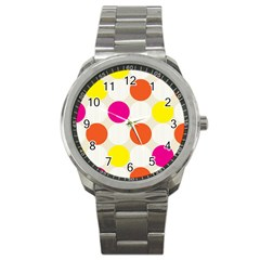 Polka Dots Background Colorful Sport Metal Watch by Modern2018