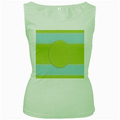 Lace Polka Dots Border Women s Green Tank Top by Modern2018