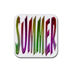 Summer Colorful Rainbow Typography Rubber Coaster (square)  by yoursparklingshop