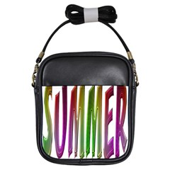 Summer Colorful Rainbow Typography Girls Sling Bags by yoursparklingshop