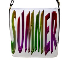 Summer Colorful Rainbow Typography Flap Messenger Bag (l)  by yoursparklingshop