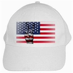 United State Flags With Peace Sign White Cap by goodart