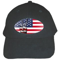 United State Flags With Peace Sign Black Cap by goodart