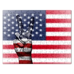 United State Flags With Peace Sign Rectangular Jigsaw Puzzl by goodart
