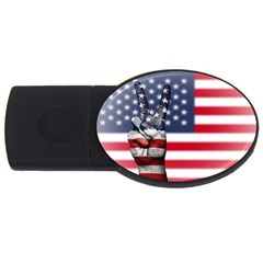 United State Flags With Peace Sign Usb Flash Drive Oval (4 Gb) by goodart