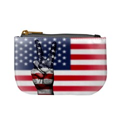 United State Flags With Peace Sign Mini Coin Purses by goodart