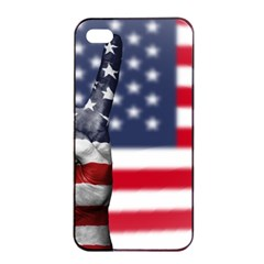 United State Flags With Peace Sign Apple Iphone 4/4s Seamless Case (black) by goodart