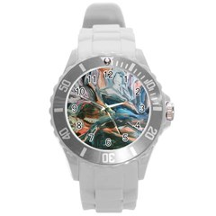Night Lillies Round Plastic Sport Watch (l) by bestdesignintheworld