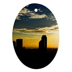 Skyline Sunset Buildings Cityscape Ornament (oval)