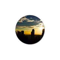 Skyline Sunset Buildings Cityscape Golf Ball Marker