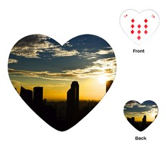 Skyline Sunset Buildings Cityscape Playing Cards (heart)  by Simbadda