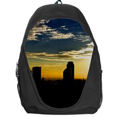 Skyline Sunset Buildings Cityscape Backpack Bag by Simbadda