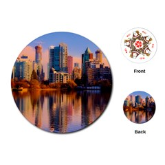 Vancouver Canada Sea Ocean Playing Cards (round)  by Simbadda