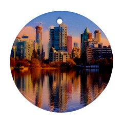 Vancouver Canada Sea Ocean Round Ornament (two Sides) by Simbadda