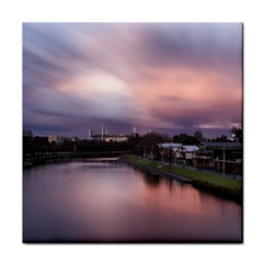 Sunset Melbourne Yarra River Face Towel by Simbadda