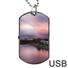 Sunset Melbourne Yarra River Dog Tag Usb Flash (two Sides) by Simbadda