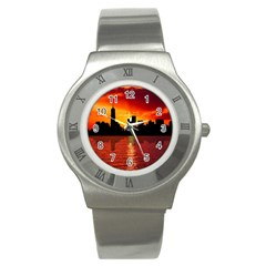 Skyline New York City Sunset Dusk Stainless Steel Watch by Simbadda
