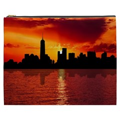 Skyline New York City Sunset Dusk Cosmetic Bag (xxxl)  by Simbadda