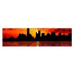 Skyline New York City Sunset Dusk Satin Scarf (oblong)