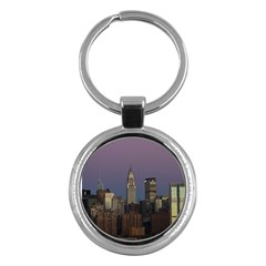 Skyline City Manhattan New York Key Chains (round)  by Simbadda