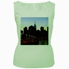 New York City Skyline Building Women s Green Tank Top by Simbadda