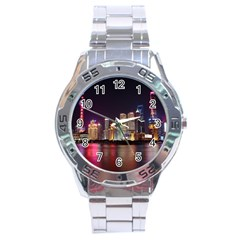 Building Skyline City Cityscape Stainless Steel Analogue Watch by Simbadda