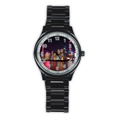 Building Skyline City Cityscape Stainless Steel Round Watch
