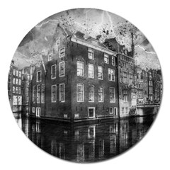 Reflection Canal Water Street Magnet 5  (round) by Simbadda