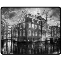 Reflection Canal Water Street Double Sided Fleece Blanket (medium)  by Simbadda