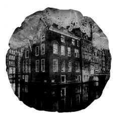 Reflection Canal Water Street Large 18  Premium Flano Round Cushions by Simbadda