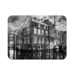 Reflection Canal Water Street Double Sided Flano Blanket (mini)  by Simbadda