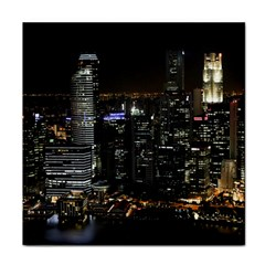 City At Night Lights Skyline Tile Coasters