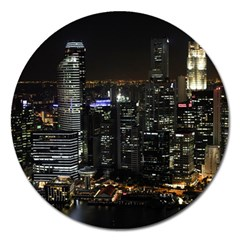 City At Night Lights Skyline Magnet 5  (round) by Simbadda