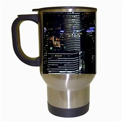 City At Night Lights Skyline Travel Mugs (white) by Simbadda