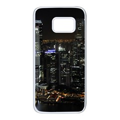 City At Night Lights Skyline Samsung Galaxy S7 White Seamless Case by Simbadda