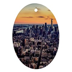 New York Skyline Architecture Nyc Ornament (oval) by Simbadda