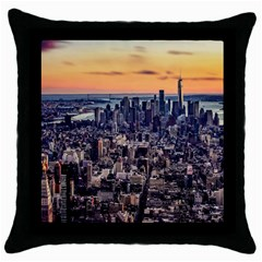 New York Skyline Architecture Nyc Throw Pillow Case (black) by Simbadda