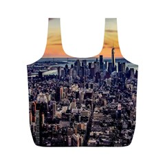 New York Skyline Architecture Nyc Full Print Recycle Bags (m)  by Simbadda