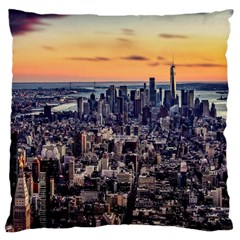New York Skyline Architecture Nyc Large Flano Cushion Case (two Sides)