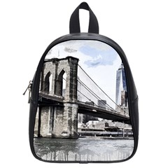 City Skyline Skyline City Cityscape School Bag (small)