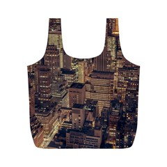 New York City Skyline Nyc Full Print Recycle Bags (m)  by Simbadda