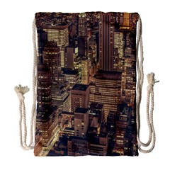 New York City Skyline Nyc Drawstring Bag (large) by Simbadda