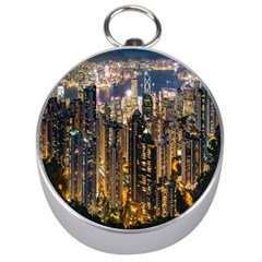 Panorama Urban Landscape Town Center Silver Compasses by Simbadda