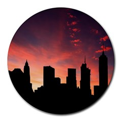 Skyline Panoramic City Architecture Round Mousepads
