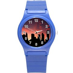 Skyline Panoramic City Architecture Round Plastic Sport Watch (s) by Simbadda