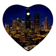 Skyline Downtown Seattle Cityscape Ornament (heart) by Simbadda