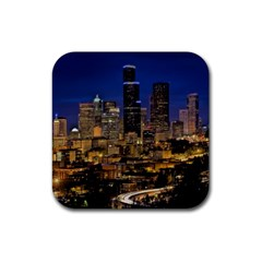 Skyline Downtown Seattle Cityscape Rubber Square Coaster (4 Pack)  by Simbadda