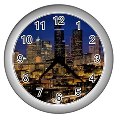 Skyline Downtown Seattle Cityscape Wall Clocks (silver)  by Simbadda