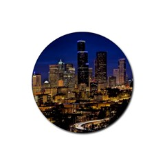 Skyline Downtown Seattle Cityscape Rubber Coaster (round)  by Simbadda