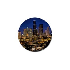 Skyline Downtown Seattle Cityscape Golf Ball Marker (4 Pack) by Simbadda
